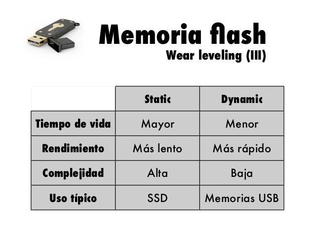 Memoria flash Wear leveling (III)  Static  Dynamic  Tiempo de vida  Mayor  Menor  Rendimiento  Más lento  Más rápido  Compl...
