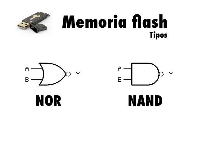 Memoria flash Tipos  NOR  NAND