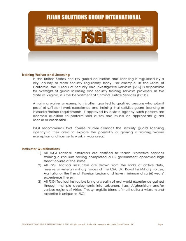 Fijian solutions group intl psd course syllabus - California bureau of security and investigative services ...