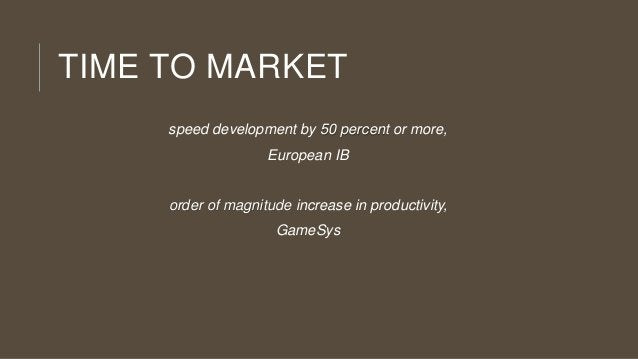 TIME TO MARKET speed development by 50 percent or more, European IB  order of magnitude increase in productivity, GameSys