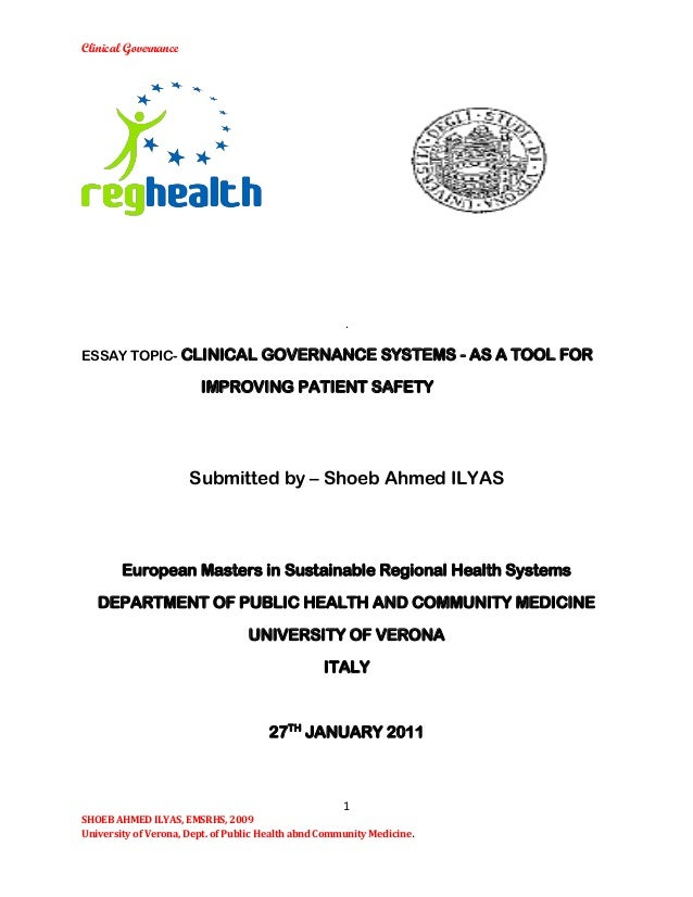 CLINICAL GOVERNANCE SYSTEMS - AS A TOOL FOR IMPROVING PATIENT SAFETY