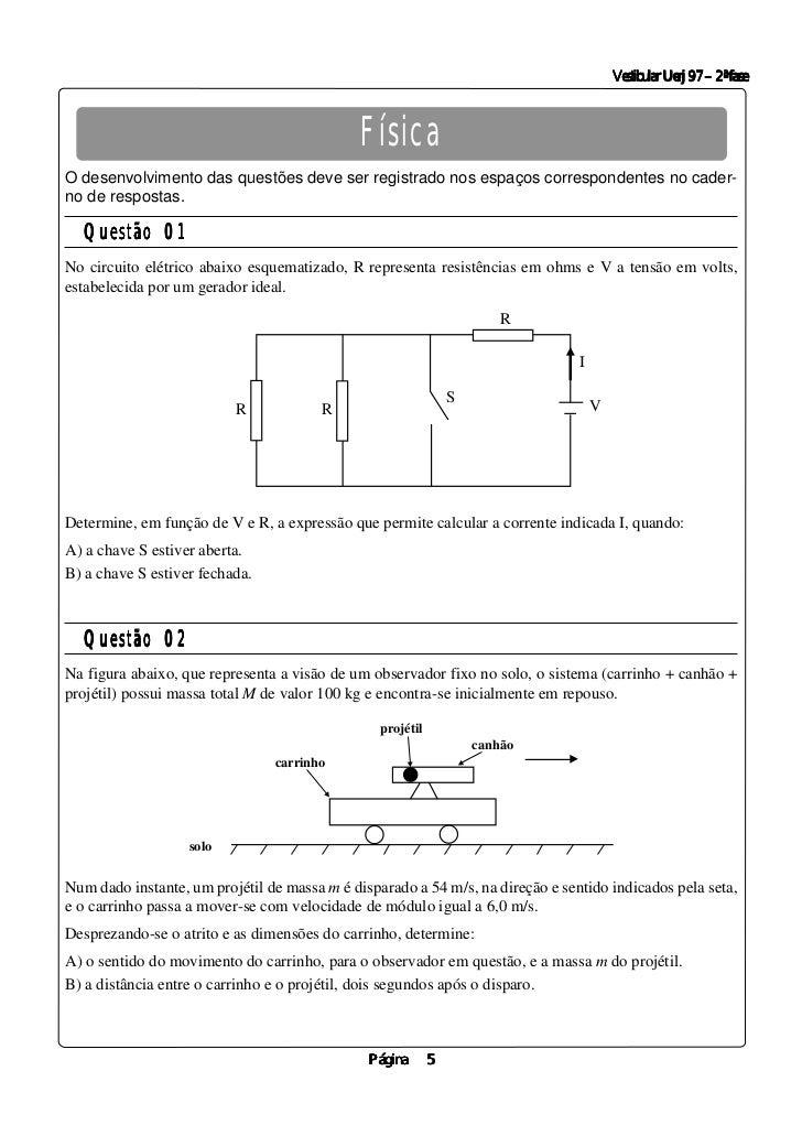 Vestibular Uerj 97 – 2ª fase                                              FísicaO desenvolvimento das questões deve ser re...