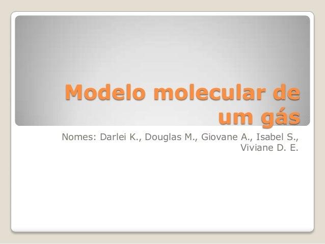 Modelo molecular de um gás Nomes: Darlei K., Douglas M., Giovane A., Isabel S., Viviane D. E.