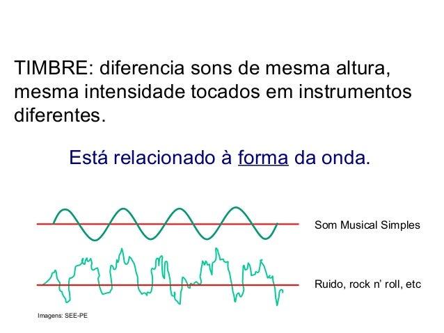 TIMBRE: diferencia sons de mesma altura, mesma intensidade tocados em instrumentos diferentes. Está relacionado à forma da...