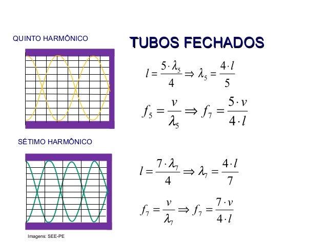 QUINTO HARMÔNICO SÉTIMO HARMÔNICO 5 4 4 5 5 5 l l ⋅ =⇒ ⋅ = λ λ l v f v f ⋅ ⋅ =⇒= 4 5 7 5 5 λ 7 4 4 7 7 7 l l ⋅ =⇒ ⋅ = λ λ ...