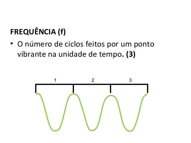 Física , 2º Ano FREQUÊNCIA DE UMA ONDA FREQUÊNCIA (f) • O número de ciclos feitos por um ponto vibrante na unidade de temp...