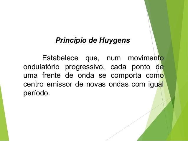 Princípio de Huygens Estabelece que, num movimento ondulatório progressivo, cada ponto de uma frente de onda se comporta c...