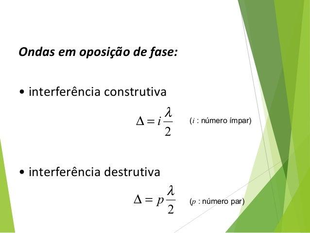 Ondas em oposição de fase:  •interferênciaconstrutiva   •interferênciadestrutiva FÍSICA, 2º Ano do Ensino Médio On...