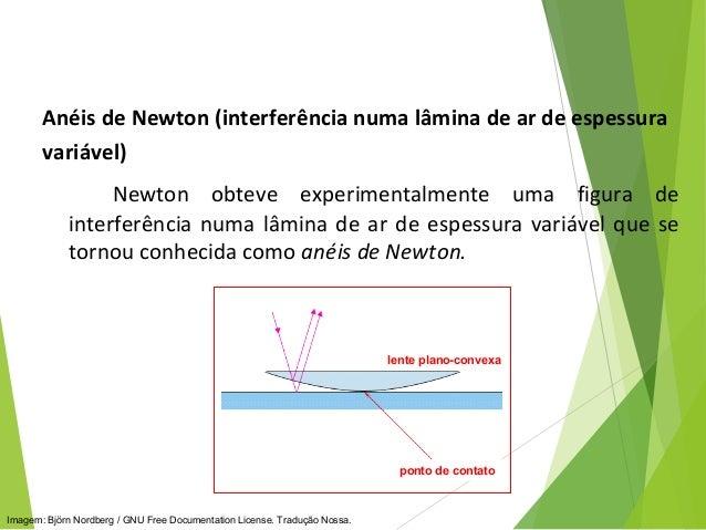Anéis de Newton (interferência numa lâmina de ar de espessura variável) Newton obteve experimentalmente uma figura de inte...