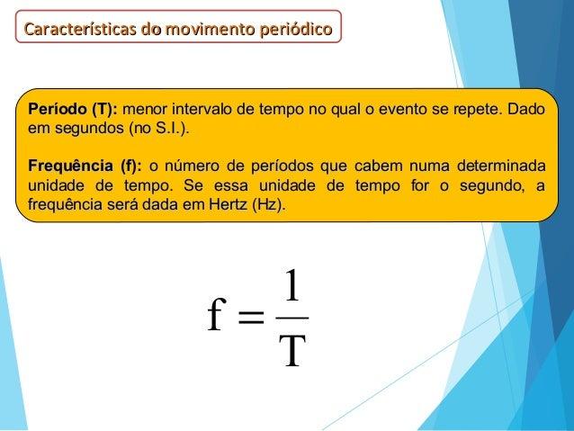 Período (T):Período (T): menor intervalo de tempo no qual o evento se repete. Dadomenor intervalo de tempo no qual o event...