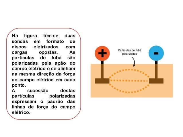 Na figura têm-se duas sondas em formato de discos eletrizados com cargas opostas. As partículas de fubá são polarizadas pe...
