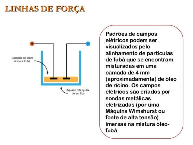 Padrões de campos elétricos podem ser visualizados pelo alinhamento de partículas de fubá que se encontram misturadas em u...