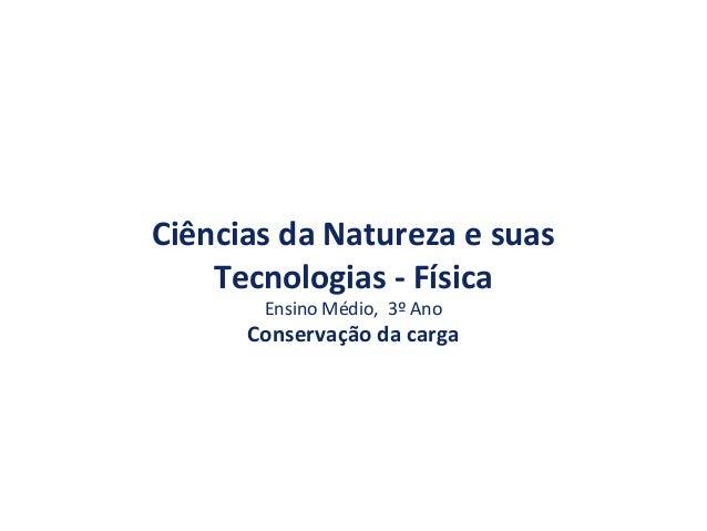 Ciências da Natureza e suas Tecnologias - Física Ensino Médio, 3º Ano Conservação da carga