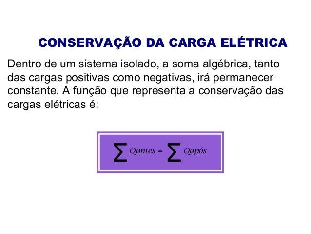 CONSERVAÇÃO DA CARGA ELÉTRICA Dentro de um sistema isolado, a soma algébrica, tanto das cargas positivas como negativas, i...