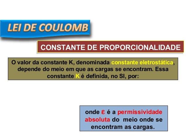 CONSTANTE DE PROPORCIONALIDADECONSTANTE DE PROPORCIONALIDADE O valor da constante K, denominada constante eletrostática, d...