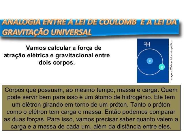 FÍSICA, 3º Ano do Ensino Médio Lei de Coulomb Corpos que possuam, ao mesmo tempo, massa e carga. Quem pode servir bem para...