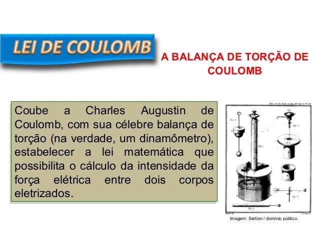 FÍSICA, 3º Ano do Ensino Médio Lei de Coulomb Coube a Charles Augustin de Coulomb, com sua célebre balança de torção (na v...