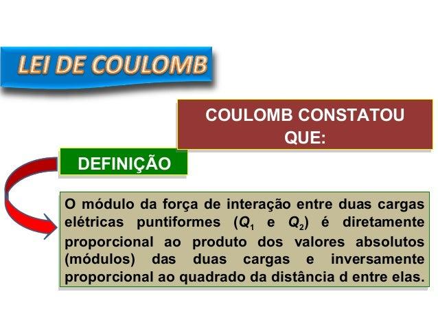 DEFINIÇÃODEFINIÇÃO FÍSICA, 3º Ano do Ensino Médio Lei de Coulomb O módulo da força de interação entre duas cargas elétrica...