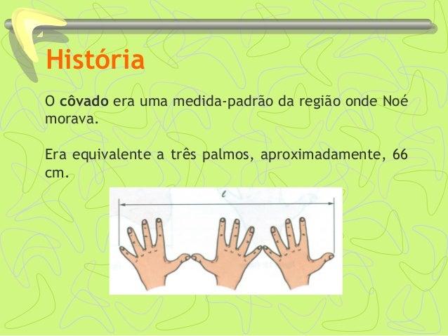 História O côvado era uma medida-padrão da região onde Noé morava. Era equivalente a três palmos, aproximadamente, 66 cm.