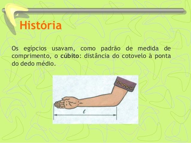 História Os egípcios usavam, como padrão de medida de comprimento, o cúbito: distância do cotovelo à ponta do dedo médio.