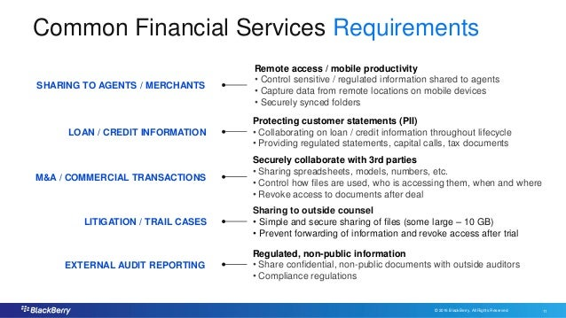© 2016 BlackBerry. All Rights Reserved. 11 11 Common Financial Services Requirements SHARING TO AGENTS / MERCHANTS EXTERNA...