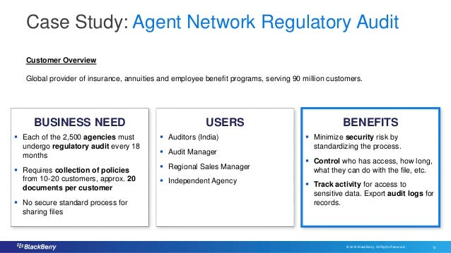© 2016 BlackBerry. All Rights Reserved. 13 13 Case Study: Agent Network Regulatory Audit USERSBUSINESS NEED BENEFITS  Eac...