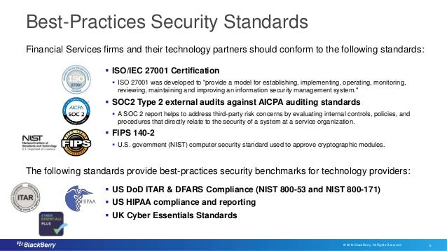 © 2016 BlackBerry. All Rights Reserved. 6 6 Best-Practices Security Standards  ISO/IEC 27001 Certification  ISO 27001 wa...