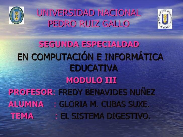UNIVERSIDAD NACIONAL PEDRO RUIZ GALLO <ul><li>SEGUNDA ESPECIALDAD   </li></ul><ul><li>EN COMPUTACIÓN E INFORMÁTICA EDUCATI...