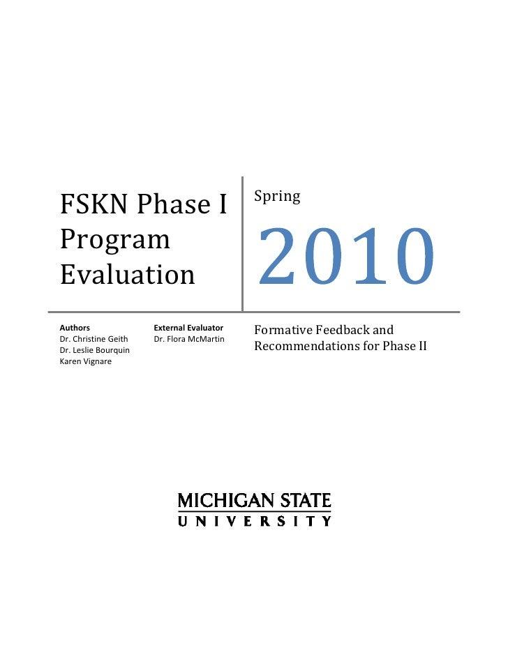 Spring FSKNPhaseI Program Evaluati...