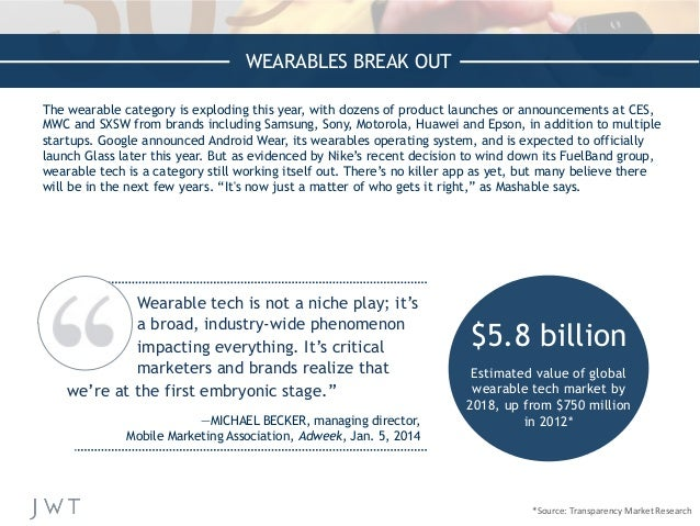 WEARABLES BREAK OUT The wearable category is exploding this year, with dozens of product launches or announcements at CES,...