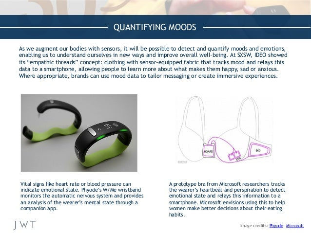 QUANTIFYING MOODS As we augment our bodies with sensors, it will be possible to detect and quantify moods and emotions, en...
