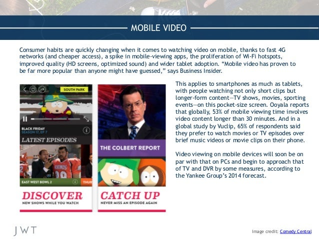 MOBILE VIDEO Consumer habits are quickly changing when it comes to watching video on mobile, thanks to fast 4G networks (a...