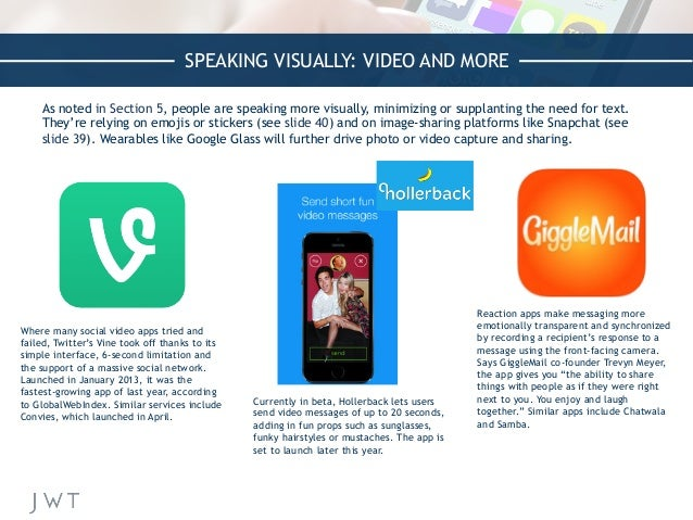 SPEAKING VISUALLY: VIDEO AND MORE As noted in Section 5, people are speaking more visually, minimizing or supplanting the ...