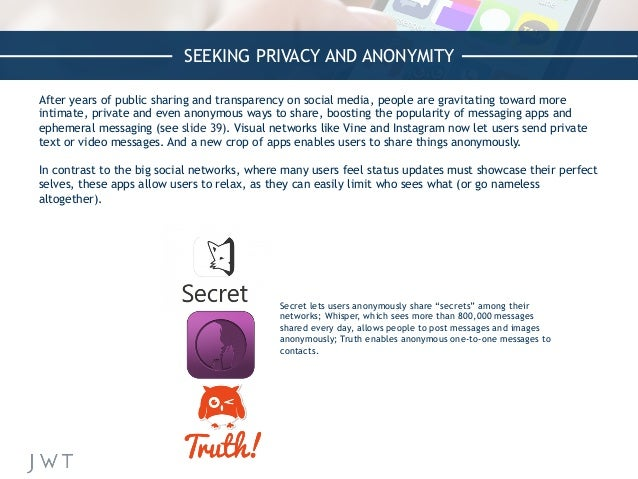SEEKING PRIVACY AND ANONYMITY After years of public sharing and transparency on social media, people are gravitating towar...