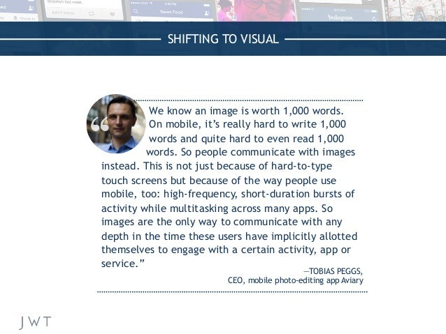 SHIFTING TO VISUAL We know an image is worth 1,000 words. On mobile, it's really hard to write 1,000 words and quite hard ...