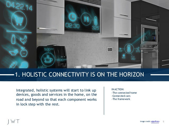 Integrated, holistic systems will start to link up devices, goods and services in the home, on the road and beyond so that...