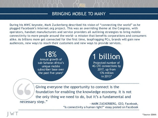 """BRINGING MOBILE TO MANY During his MWC keynote, Mark Zuckerberg described his vision of """"connecting the world"""" as he plugg..."""