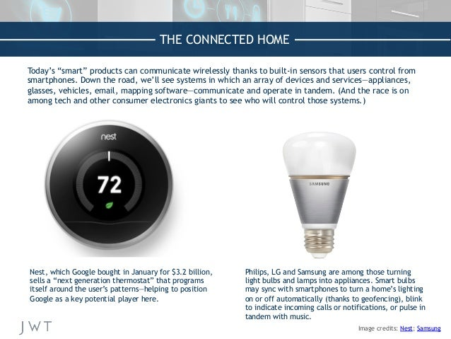 """THE CONNECTED HOME Today's """"smart"""" products can communicate wirelessly thanks to built-in sensors that users control from ..."""