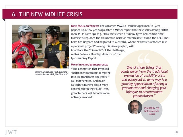 496. THE NEW MIDLIFE CRISISNew focus on fitness: The acronym MAMILs—middle-aged men in Lycra—popped up a few years ago aft...