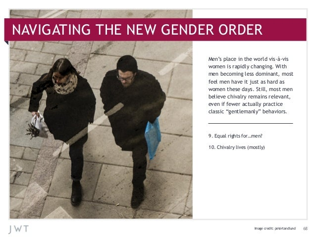 9. Equal rights for…men?10. Chivalry lives (mostly)Men's place in the world vis-à-viswomen is rapidly changing. Withmen be...