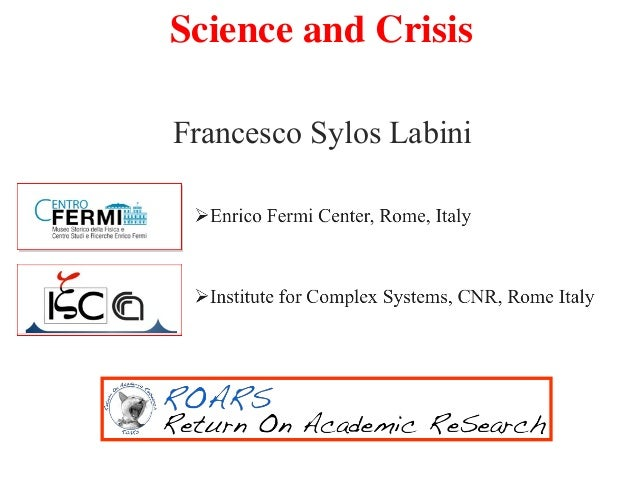 Francesco Sylos Labini Science and Crisis