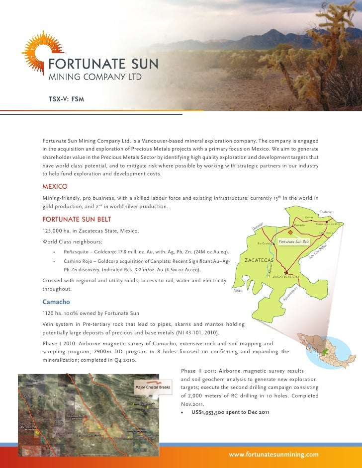 tsx-v: FSMFortunate Sun Mining Company Ltd. is a Vancouver-based mineral exploration company. The company is engagedin the...