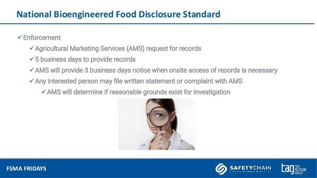 FSMA Fridays Feb 2019 - BioEngineered Food Disclosure