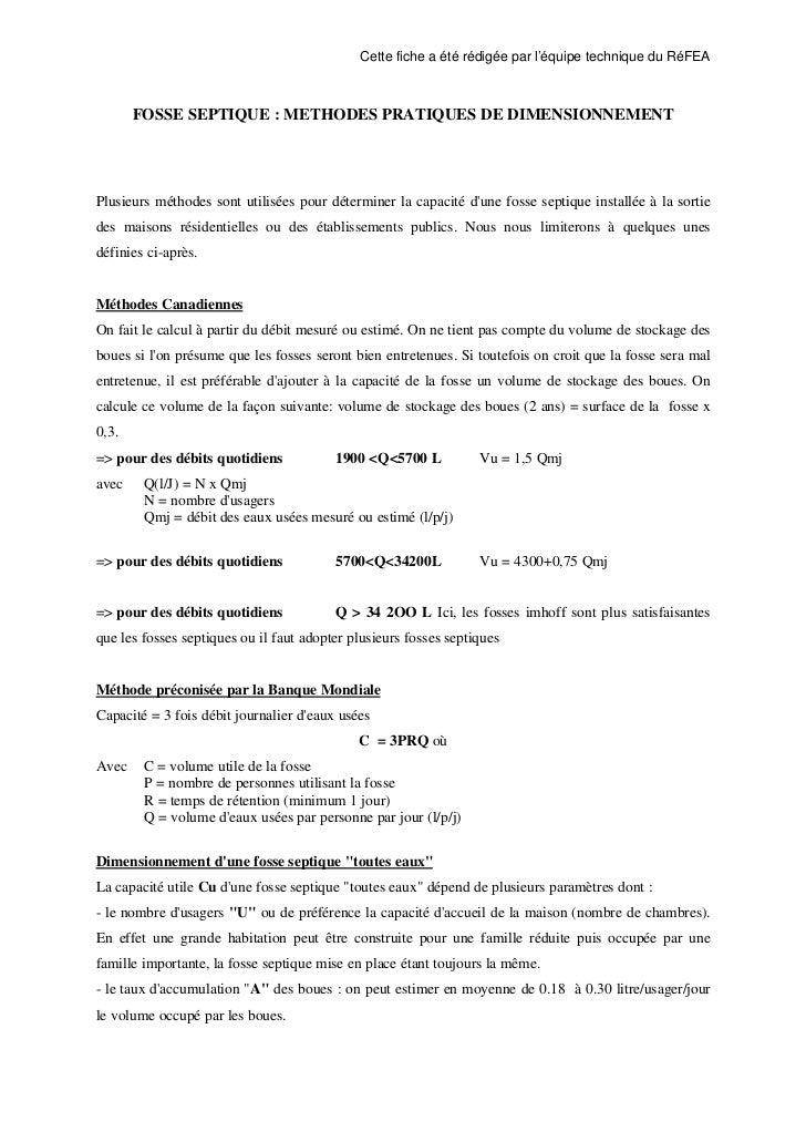 Cette fiche a été rédigée par l'équipe technique du RéFEA       FOSSE SEPTIQUE : METHODES PRATIQUES DE DIMENSIONNEMENTPlus...