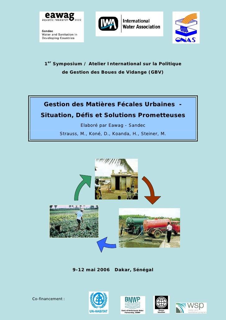 1er Symposium / Atelier International sur la Politique              de Gestion des Boues de Vidange (GBV)     Gestion des ...