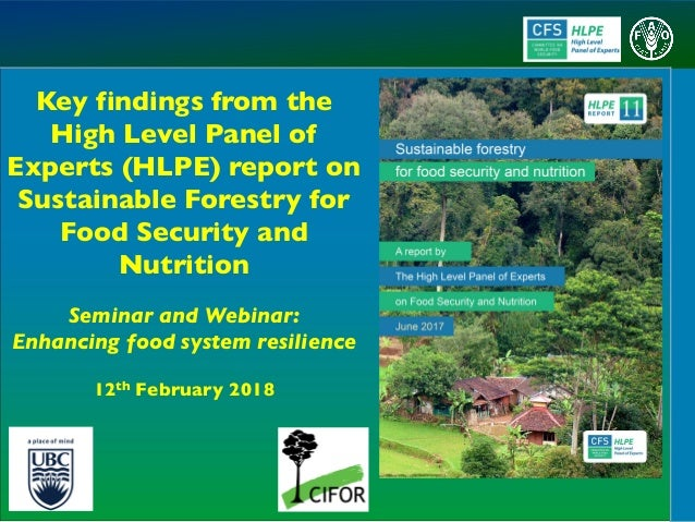 Key findings from the High Level Panel of Experts (HLPE) report on Sustainable Forestry for Food Security and Nutrition Se...