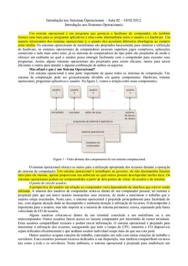 Introdução aos Sistemas Operacionais – Aula 02 – 10/02/2012. Introdução aos Sistemas Operacionais. Um sistema operacional ...