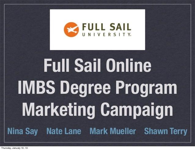 Full Sail Online              IMBS Degree Program               Marketing Campaign     Nina Say Nate Lane Mark Mueller Sha...