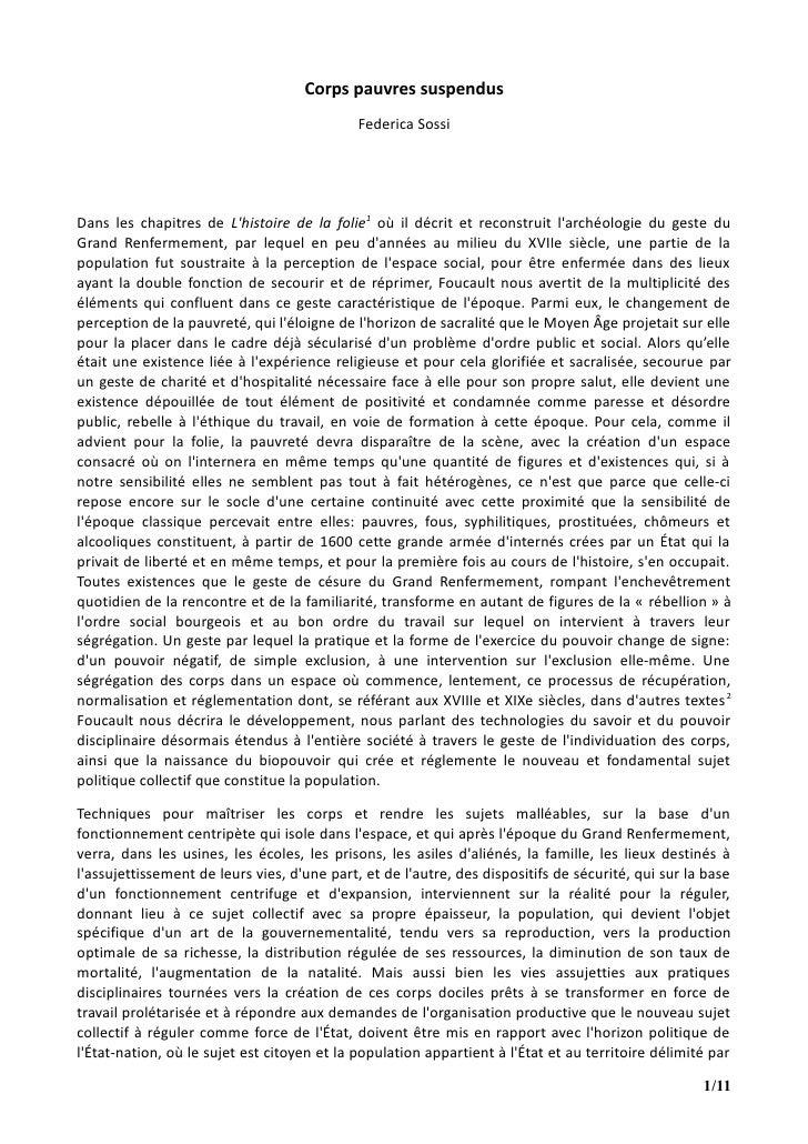 Corps pauvres suspendus                                             Federica SossiDans les chapitres de Lhistoire de la fo...