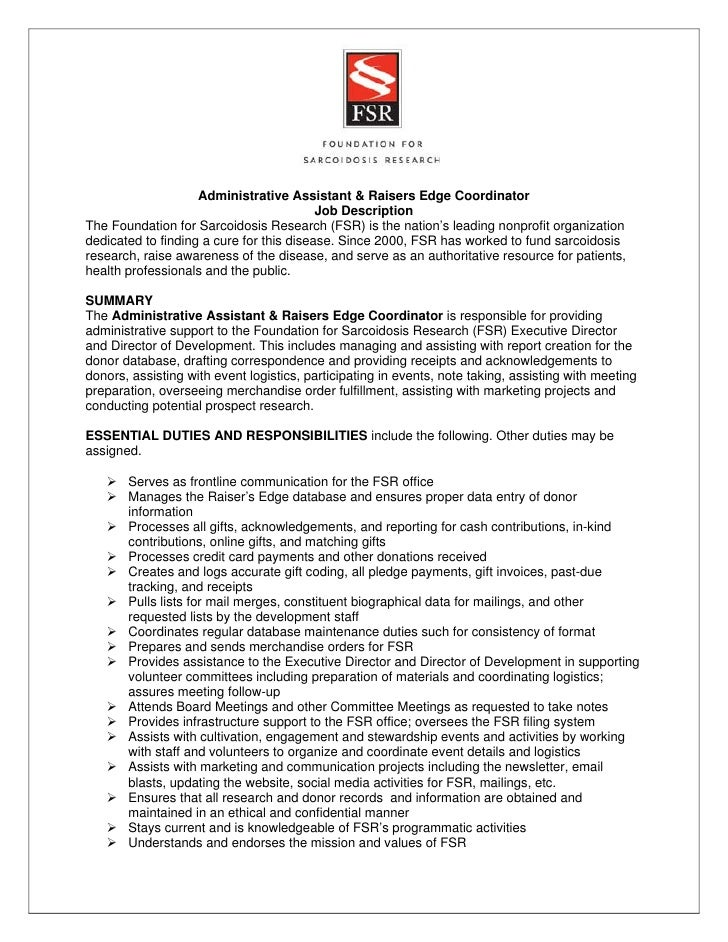 Fsr Admin Raiser'S Edge Coordinator Job Description 7-9-12